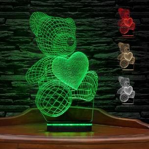 آباژور سه بعدی طرح خرس و قلب
