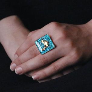 انگشتر فیروزه ای مرغ آمین