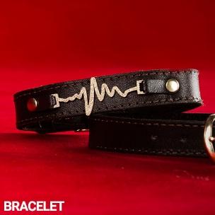 دستبند چرم طرح ضربان قلب