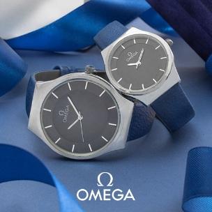 ست ساعت مردانه و زنانه Omega مدل W1397(آبی)