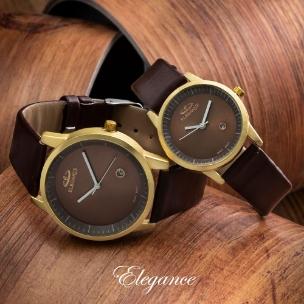 ست ساعت مردانه زنانه Elegance مدل W6399 (قهوه ای)